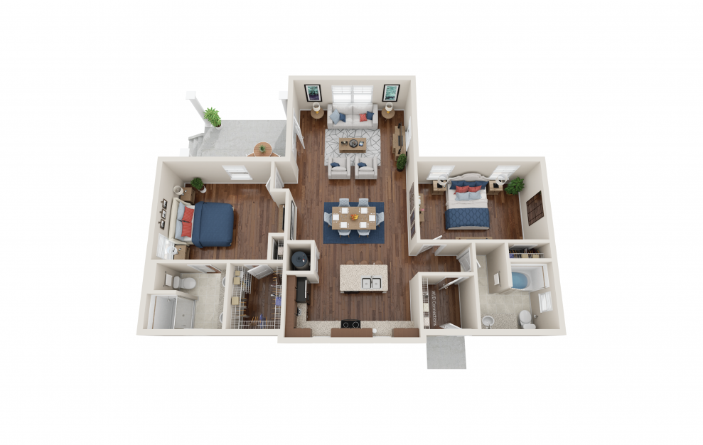 Beswick - 2 bedroom floorplan layout with 2 baths and 1314 square feet.
