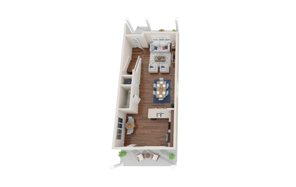 Baldwin - 2 bedroom floorplan layout with 2.5 baths and 1480 square feet. (Floor 1)