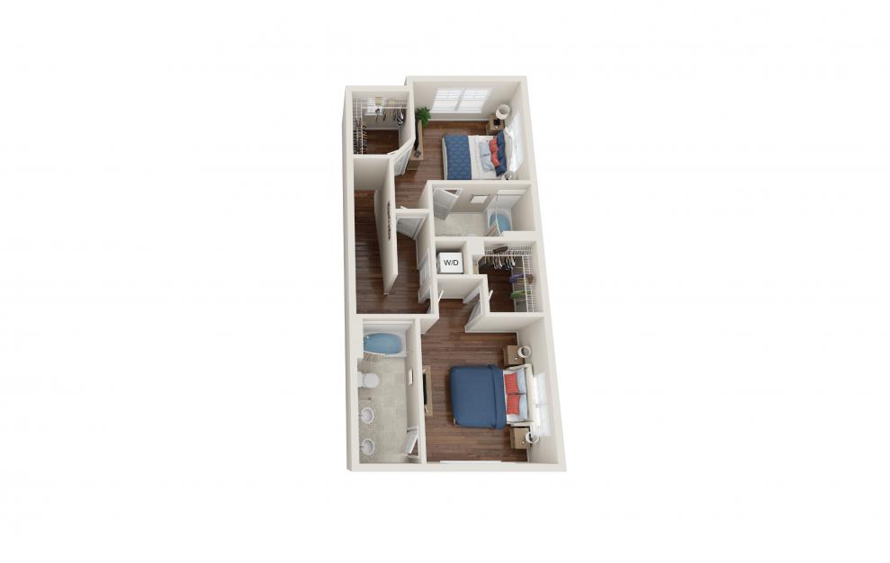 Baldwin - 2 bedroom floorplan layout with 2.5 baths and 1480 square feet. (Floor 2)