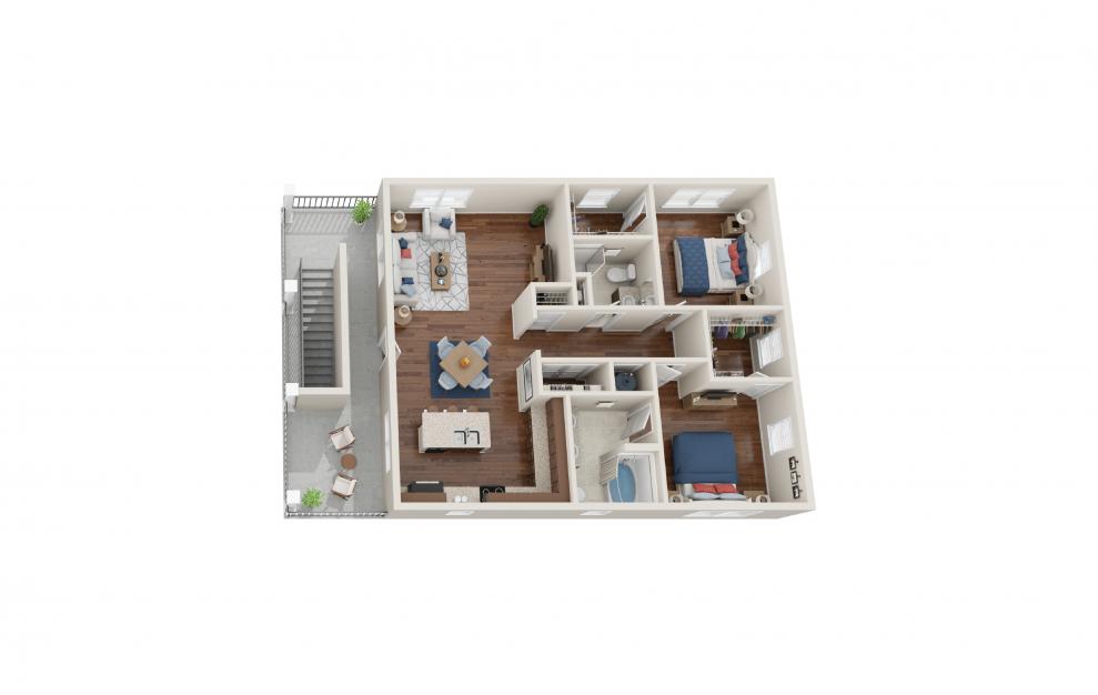 Edinburgh - 2 bedroom floorplan layout with 2 baths and 1221 square feet. (Floor 2)